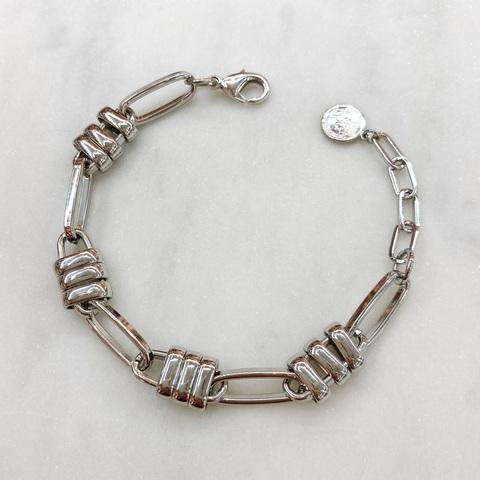 Браслет-цепочка со стилизованными замками (серебристый)