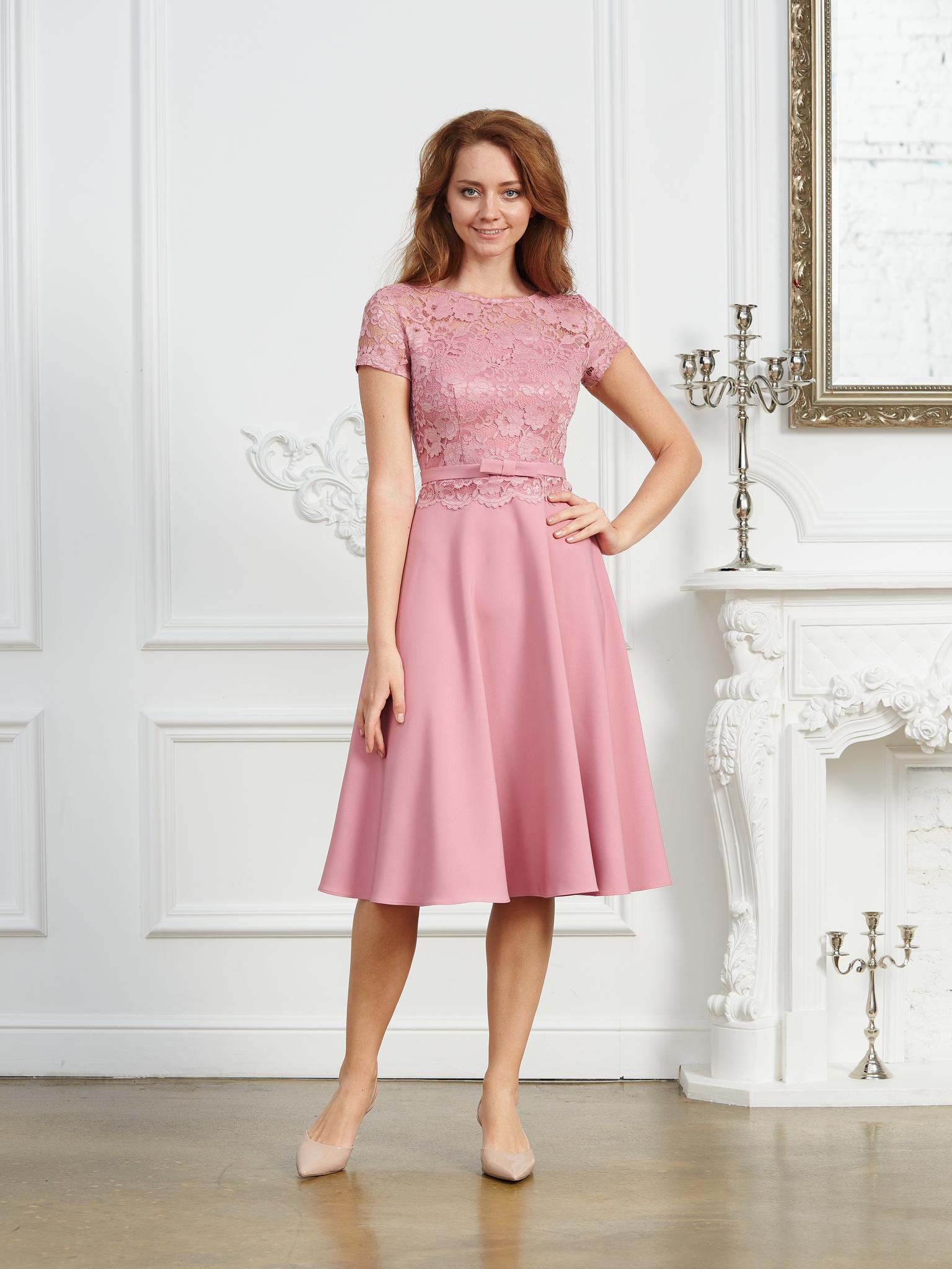 Нарядное платье Мила миди (серо-розовый)