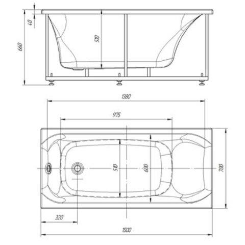 Ванна акриловая  Aquatek Феникс 180х85cм. на каркасе и сливом-переливом. схема