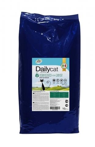 Сухой корм Dailycat Adult Hairball Chicken and Rice для взрослых кошек для вывода шерсти из желудка с курицей и рисом 10 кг