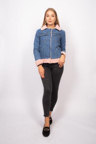 Джинсовая куртка с розовым мехом женская недорого