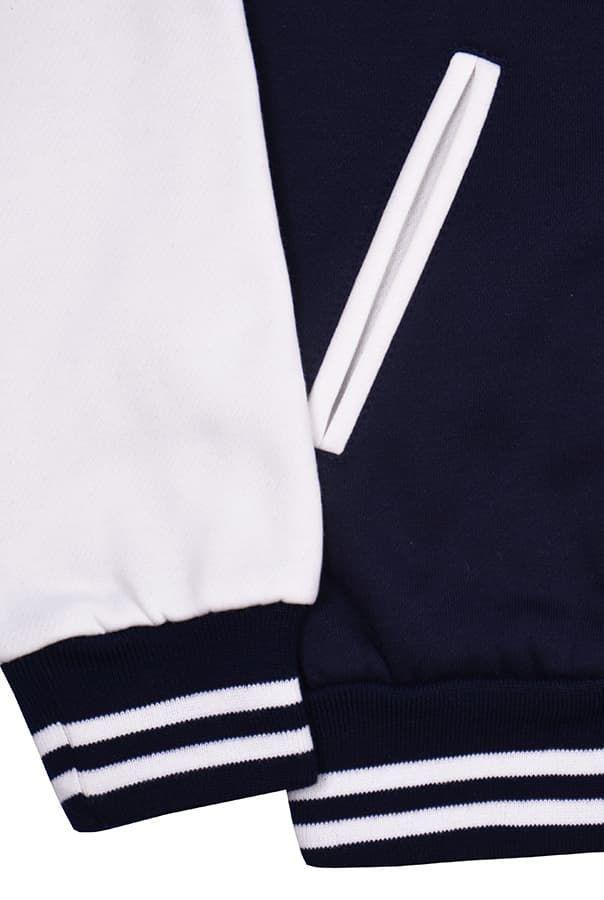 Бомбер темно-синий с белым фото резинки