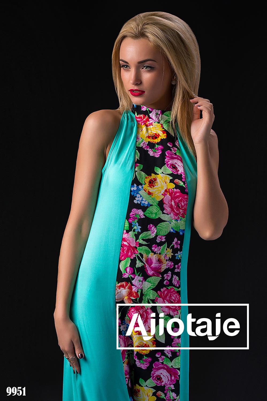 Голубой сарафан с цветочным принтом