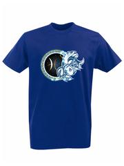 Футболка с принтом Знаки Зодиака, Рыбы (Гороскоп, horoscope) синяя 003