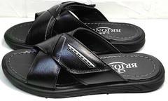 Кожаные сандали мужские шлепанцы из натуральной кожи Brionis 155LB-7286 Leather Black.