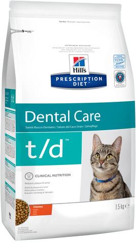 купить хиллс Hill's™ Prescription Diet™ Feline t/d Dental Care with Chicken сухой корм для взрослых кошек, диетический рацион при заболеваниях полости рта