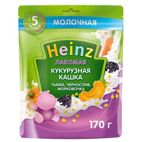 Каша лакомая Heinz кукурузная тыква, морковь, чернослив 5+ мес