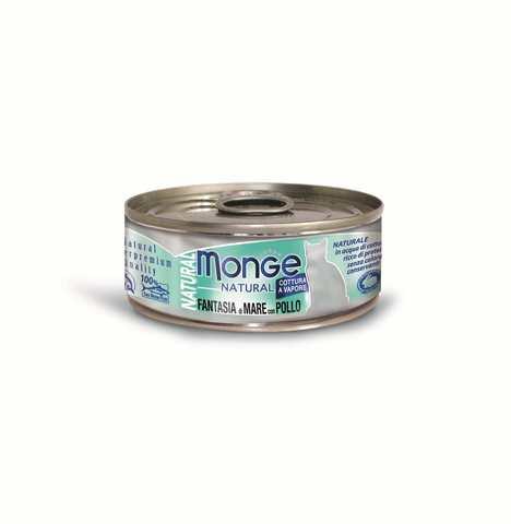 купить консервы Monge Cat Natural Seafood & Chicken для кошек с морепродуктами и курицей 80 гр