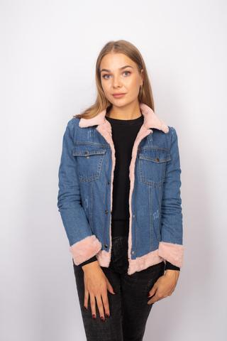 Джинсовая куртка с розовым мехом женская оптом