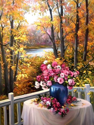 Картина раскраска по номерам 30x40 Букет на осеннем балконе