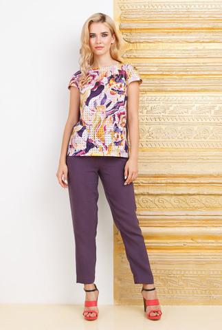 Фото фиолетовые укороченные брюки на лето - Брюки А469-580 (1)