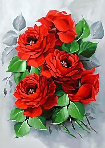Картина раскраска по номерам 30x40 Красные цветы с зелеными листками