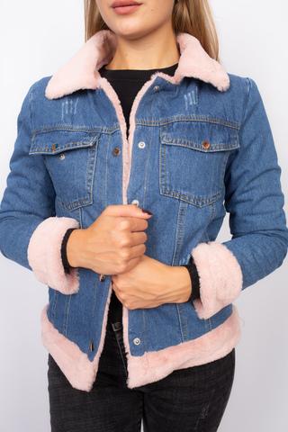 Джинсовая куртка с розовым мехом женская Nadya
