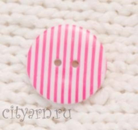 Пуговица полосатая, маленькая, розово-белая