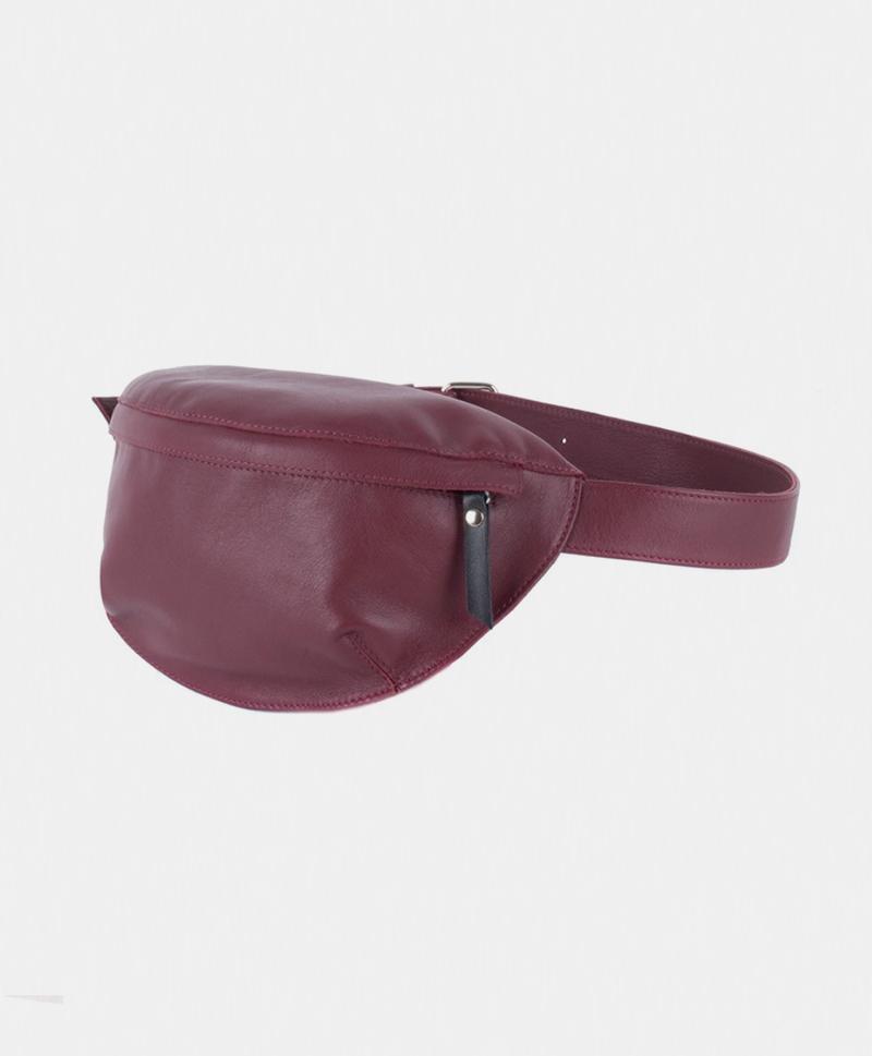 Поясная сумка цвета бордо