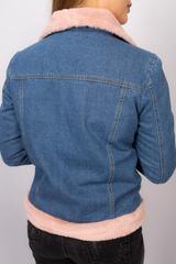 Джинсовая куртка с розовым мехом женская купить
