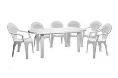 Пластиковый стол овальный белый