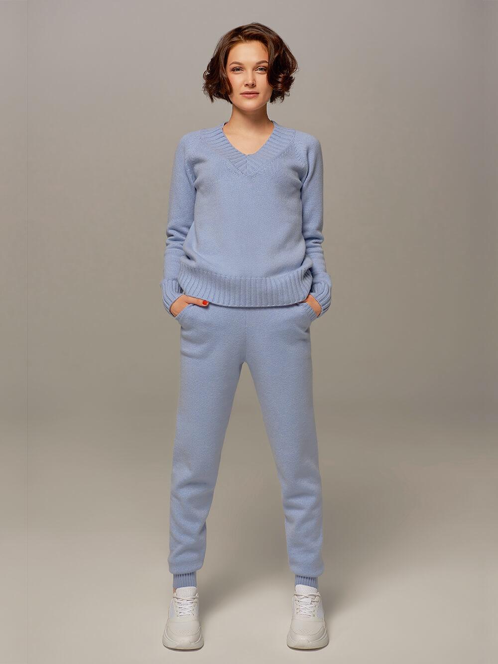 Женские брюки голубого цвета из шерсти и кашемира - фото 1