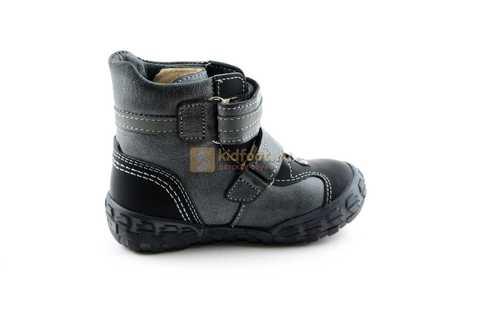 Ботинки Тотто из натуральной кожи демисезонные на байке для мальчиков, цвет черный. Изображение 4 из 10.