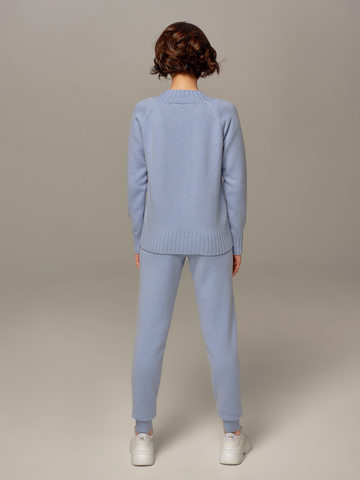 Женские брюки голубого цвета из шерсти и кашемира - фото 2