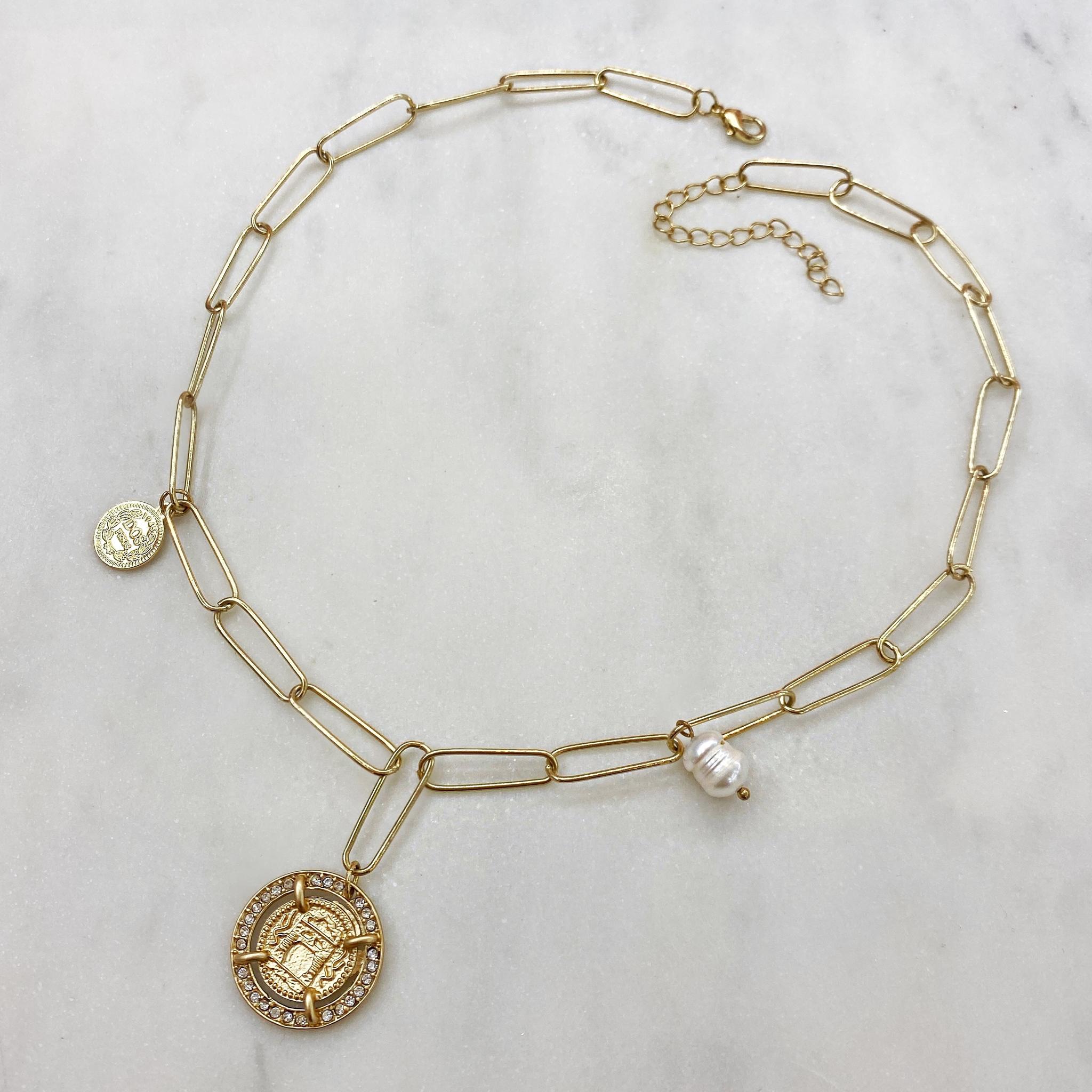 Колье-цепь с подвесками герб, барочный жемчуг, монетка (золотой)