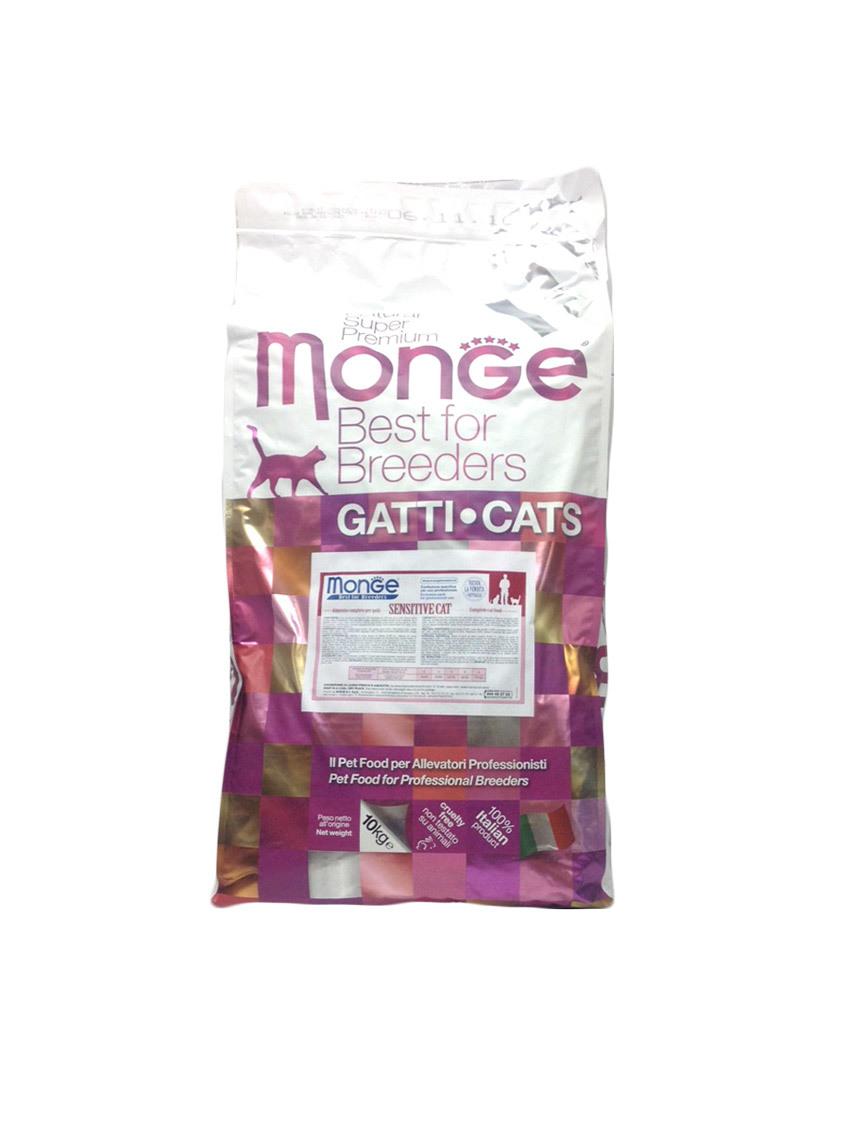 купить Monge Cat Sensitive корм для кошек с чувствительным пищеварением 10 кг