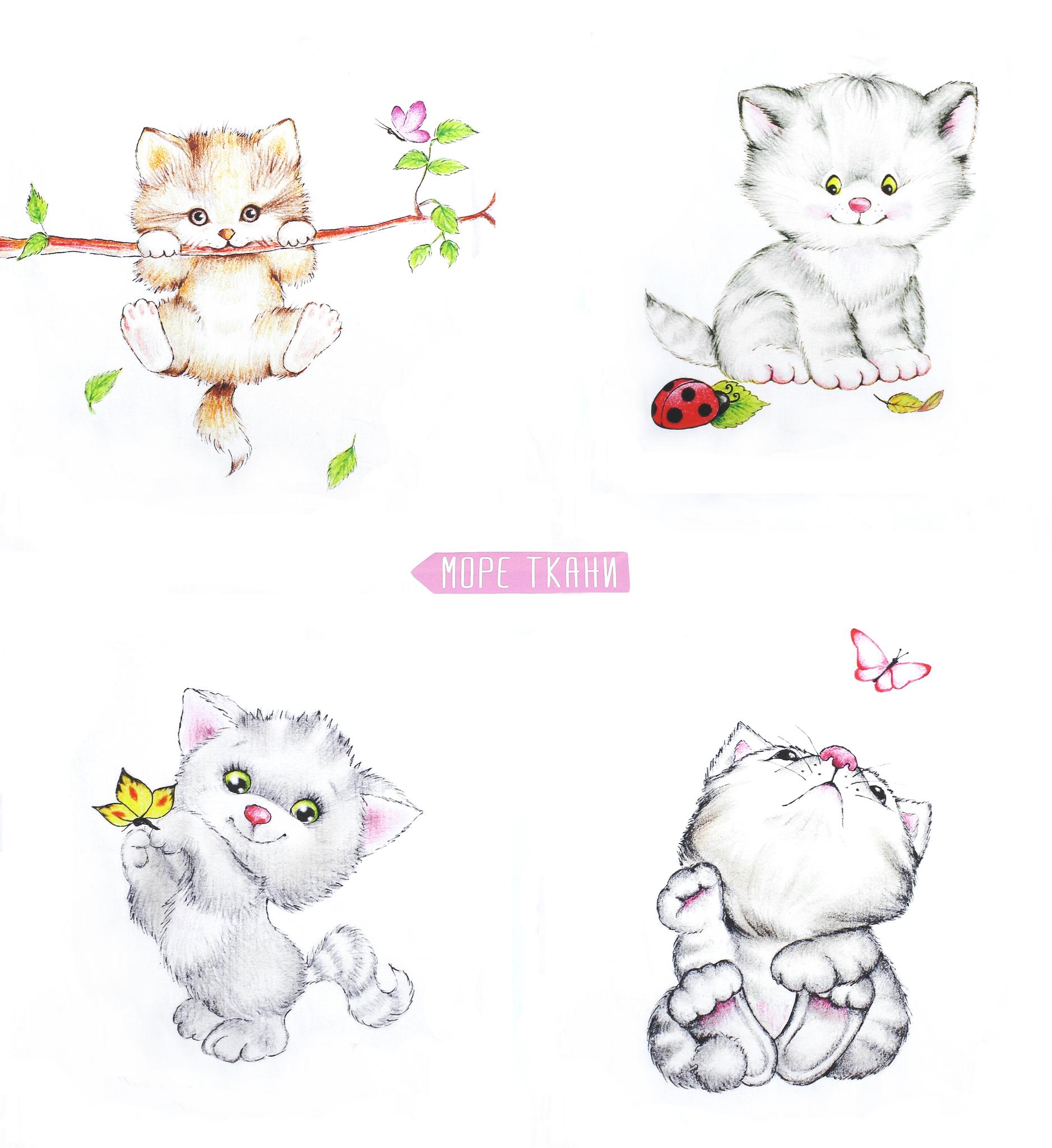 Панель(купон) котятки с бабочкой -37*37 см.4 шт