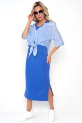 """<p>Модная """"двойка"""" из трикотажного платья и льняной рубашки в полоску. Идеальный вариант для уверенной в себе особы. Рубашка зафиксирована на бретелях платья.</p>"""