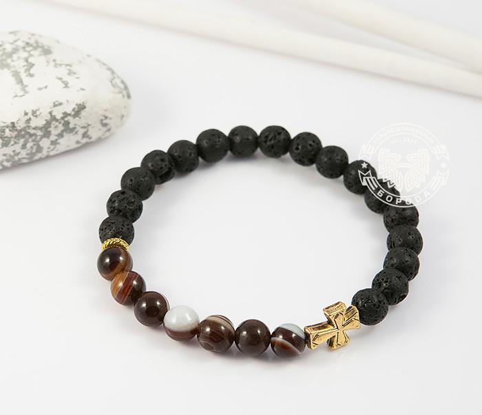 BS682-1 Мужской браслет из камней, лава и полосатый агат, ручная работа, «Boroda Design» фото 02