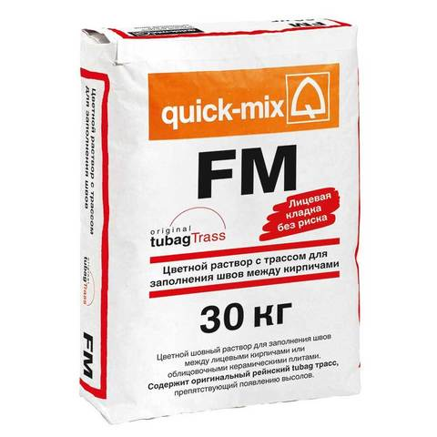 Quick-Mix FM.A, алебастрово-белая, мешок 30 кг - Цветной раствор для заполнения кирпичных швов