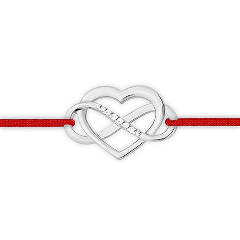 1410013470- Браслет-красная нить с сердцем и бесконечностью  из серебра
