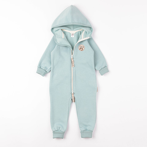 Warm hooded jumpsuit with flap - Sea Blue