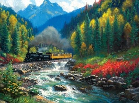 Картина раскраска по номерам 50x65 Поезд у ручья (арт. RSB8327)