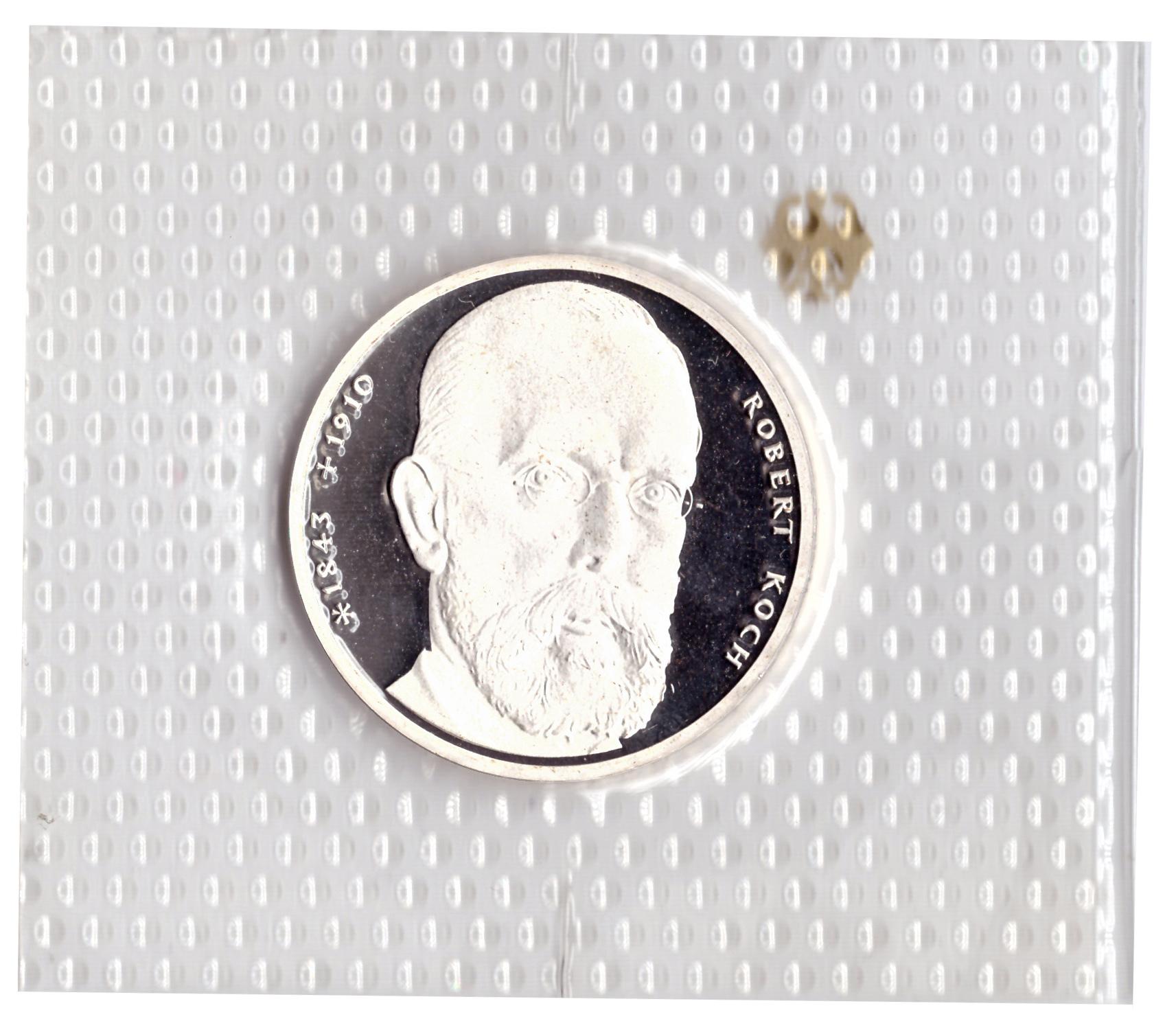 10 марок 1993 год (J) 150 лет со дня рождения Роберта Коха, Германия. PROOF в родной запайке