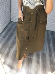 юбка длинная на пуговицах хаки nadya