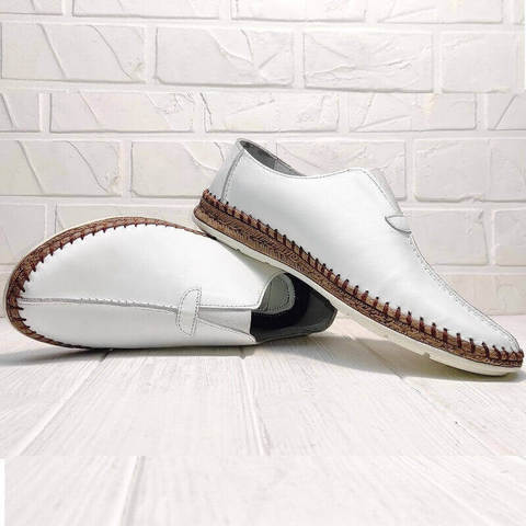 Туфли слипоны мужские стиль кэжуал летние Luciano Bellini 91724-S-304 All White.