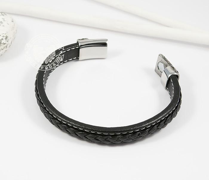BM399 Стильный мужской браслет из кожи черного цвета и стали (21,5 см) фото 02