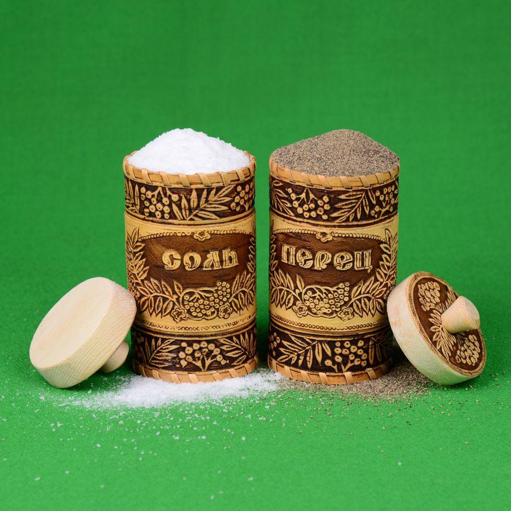 Набор туесов соль и перец, рябинка