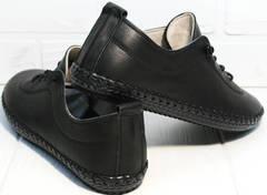Черные кожаные кеды женские Evromoda 115 Black