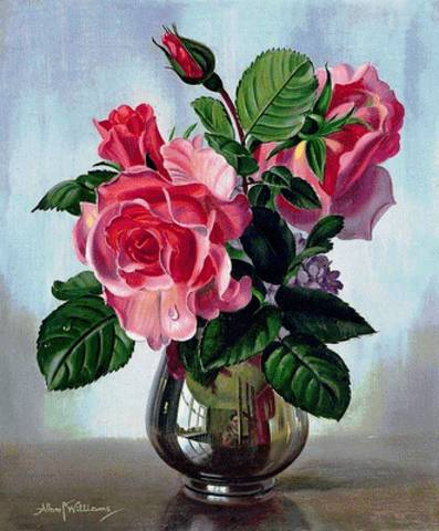 Алмазная Мозаика 40x50 Розовые розы и веточка сирени в вазе