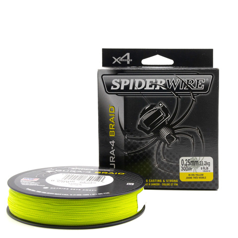 Плетеная леска Spiderwire Dura4 Braid Ярко-желтая 300 м. 0,25 мм. Yel