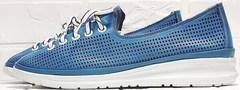 Летние кроссовки женские кожаные кеды с перфорацией модный кэжуал Wollen P029-2096-24 Blue White.