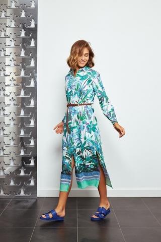 La Martina Платье-рубашка из хлопка со льном в лиственный принт