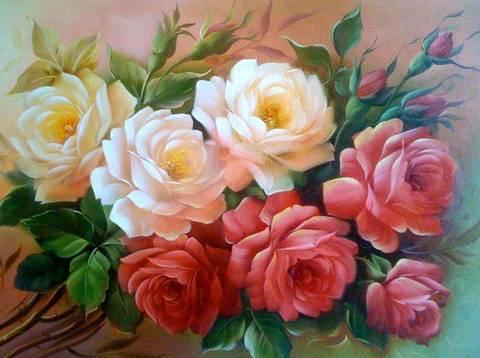 Картина раскраска по номерам 30x40 Бело-красные цветы