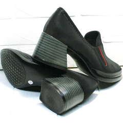 Весенние женские туфли из натуральной кожи 6 см каблук H&G BEM 167 10B-Black.