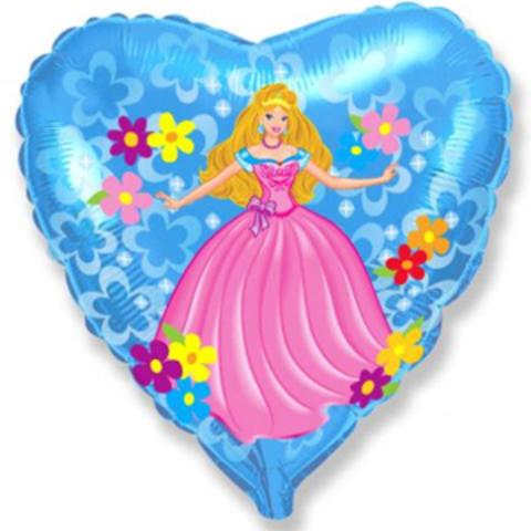 Шар сердце Принцесса, 45 см