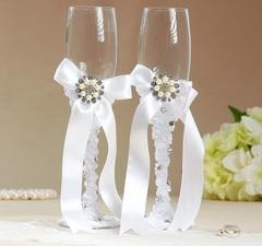 Набор свадебных бокалов «Жемчужина», белые, 250 мл, фото 1
