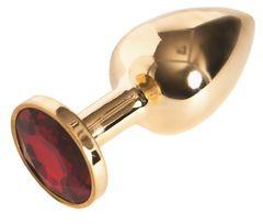 Малая золотистая анальная втулка с красным кристаллом - 6 см.