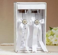 Набор свадебных бокалов «Жемчужина», белые, 250 мл, фото 2