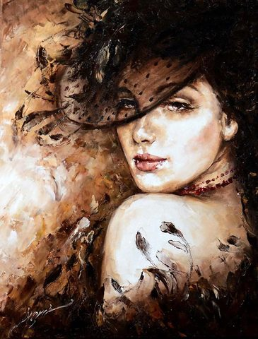 Картина раскраска по номерам 30x40 Девушка в шляпе